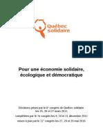 Pour une économie solidaire, écologique et démocratique