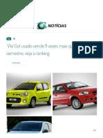 VW Gol Usado Vende 11 Vezes Mais Que Novo No 1º Semestre; Veja o Ranking