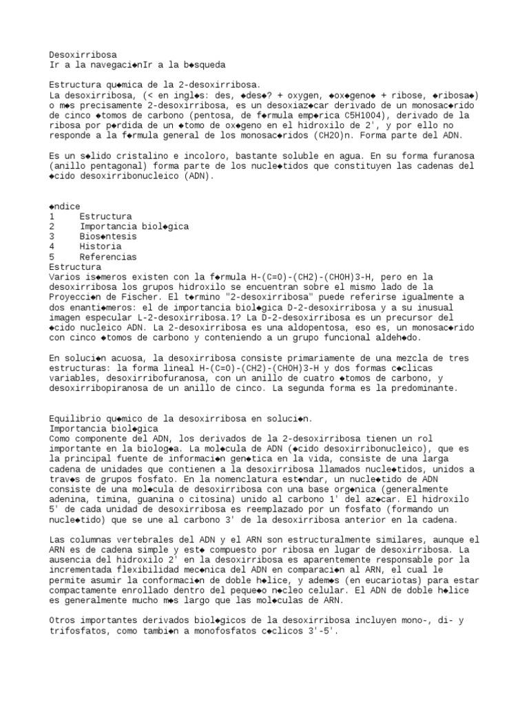 Desoxirribosa Wiki Biomoléculas Biología Molecular