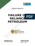 Term Paper on Failure of Reliance Petroleum