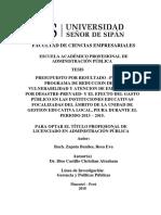 PRESUPUESTO POR RESULTADO –PPR-068 – PROGRAMA DE REDUCCION DE LA VULNERABILIDAD Y ATENCION DE EMERGENCIA POR DESASTRE-PREVAED- Y EL EFECTO DEL GASTO PÚBLICO EN LAS INSTITUCIONES EDUCATIVAS  FOCALIZADAS DEL ÁMBITO DE LA UNIDAD DE GESTION EDUCATIVA LOCAL, PIURA DURANTE EL PERIODO 2013 – 2015.