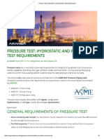 Hydrostatic and Pneumatic Test Requirements