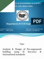 Analysis Design of Pre-Engineered Building Using is 8002007 International Standards-00