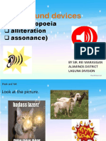 ENGLISH 5 Q1 Sound Devices Onomatopoeia, Alliteration, And Assonance by Sir Rei Marasigan