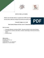 Invito Conferenza Stampa a Bari per l'ART NOUVEAU WEEK