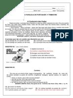Avaliação Paralela de Português 1º Trimestre 2019