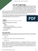 Multiplicadores de Lagrange - Wikipedia, La Enciclopedia Libre