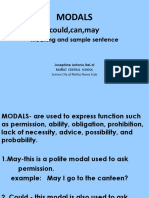 Modals Meaning and Sample Sentence