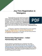PARTNERSHIP FIRM REGISTRATION IN TELANGANA