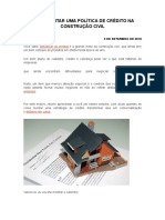 Como Montar Uma Política de Crédito Na Construção Civil