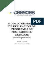 Modelo Genérico de Evaluación de Programas de Posgrados en Ecuador (Versión Preliminar)