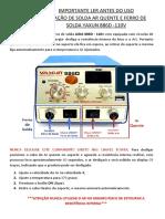 Manual Estação de Solda Ar Quente e Ferro de Solda Yaxun 886d-110V