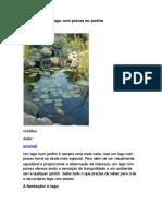 Como Fazer Um Lago Com Peixes No Jardim
