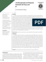 Consumo de Oxigênio de Recuperação Em Resposta a Duas Sessões de Treinamento de Força Com Diferentes Intensidades