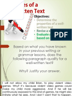 Lesson 5 Properties of Well Written Text