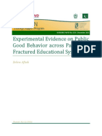Experimental Evidence on Public Good Behavior Across Pakistans Fractured Educational System