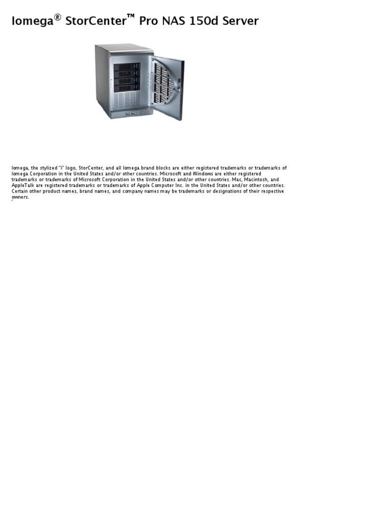 Bedienungsanleitung iomega storcenter pro nas 150d server (seite 7.