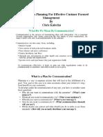 Communication Planning for Effective Customer Focused Management