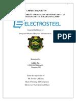 Study Of Different Verticals In Electrosteel Steels Limited(ESL)
