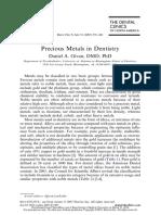 2007 DCNA Precious Metals in Dentistry