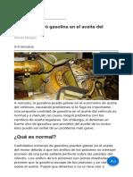 ¿Cómo Se Filtró Gasolina en El Aceite Del Motor