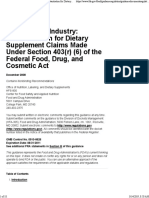 Guidance for Industry Substantiation for Dietary Supplement Claims Made Under Section 403(r) (6) of the Federal Food Drug and Cosmetic Act