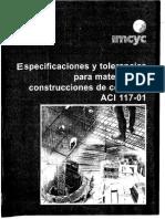 ACI 117-01 - Especificaciones y Tolerancias Para Materiales y Contruccion