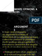 ARGUMENTS, OPINION AND FALLACIES