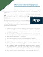 Critérios para translinear palavras na paginação