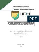 CONCIENCIA TRIBUTARIA Y EVASION DE IMPUESTOS EN LAS EMPRESAS DEDICADAS  A LA COMERCIALIZACIÓN DE COMBUSTIBLE EN EL DISTRITO DE AMARILIS, 2019