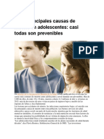 Las 5 Principales Causas de Muerte en Adolescentes
