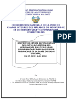 Rapport de La Mission de l'Etude Experimentale Des Outils de Gestion Des Medicaments Du Site Dans La Dps Du Kasai Oriental Avec l'Appui Svi Du 05 Au 11 Juin 2018