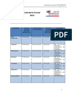 Calendario Escolar Regional 2019