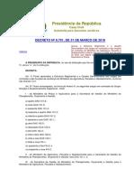 Decreto 8.701 - Nova Estrutura Do MAPA