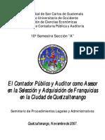 El Contador Publico y Auditor como Asesor en la Selección y Adquisición de Franquicias en Quetzaltenango