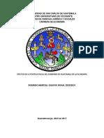 EFECTOS DE LA POLÍTICA FISCAL DEL GOBIERNO DE GUATEMALA EN LA ECONOMÍA