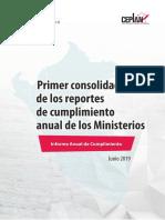 Primer Consolidado de los Reportes de Cumplimiento Anual de los Ministerios 2019.