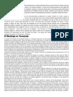 El Proceso Histórico Venezolano Incide Directamente en Nuestra Diversidad Étnica