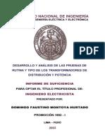 DESARROLLO Y ANÁLISIS DE LAS PRUEBAS DE RUTINA Y TIPO DE LOS TRANSFORMADORES DE DISTRIBUCIÓN Y POTENCIA