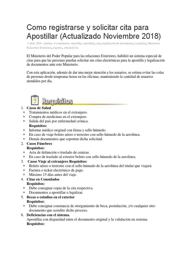 Como Registrarse Y Solicitar Cita Para Apostillar Docx