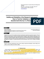 SSRN Electronic Journal Volume issue 2016 doi 102139_ssrn3205040 Taherdoost Hamed -- Validity and Reliability of the Research Instrument How to Test the Validation of a Questionnaire_Survey in.pdf