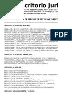 LISTADO DE PRECIOS GESTIONES 2018-3 RRB & ASOCIADOS.xlsx
