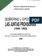 103 - Pensamiento oficial Juntas Provisorias 1948-1952 - Venezuela