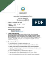Microeconomics Course Syllabus