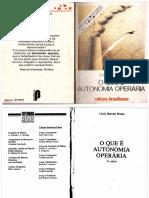o Que é Autonomia Operária Lúcia Bruno