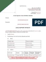 Form F37 Child Support Affidavit (Sole) Sample