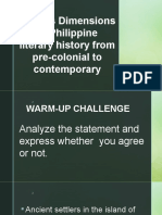 Various Dimensions of Philippine Literary History From Pre-colonial LESSON 2