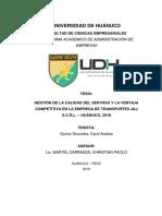 Gestión de la Calidad del Servicio y la Ventaja Competitiva en la Empresa de Transporte J&J S.C.R.L - Huánuco 2019 - Karol Quiroz Gonzales
