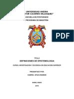 DEFINICIONES DE EPISTEMOLOGIA