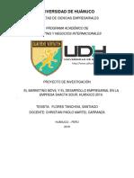 El Marketing Móvil y Desarrollo Empresarial en la empresa SHACTA SOUR, Huánuco 2019.